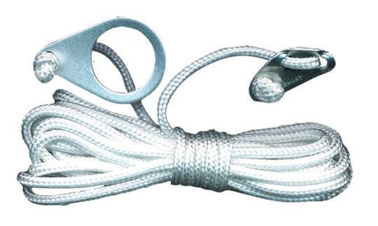 Zeltleine 4m lang, 4mm, weiß mit Alu-Heringslasche (4 Stück)