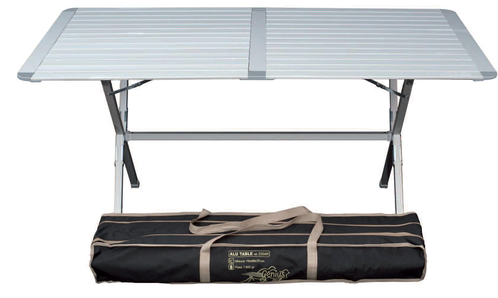 Stabiler Alu Campingtisch Genius mit rollbarer Tischplatte